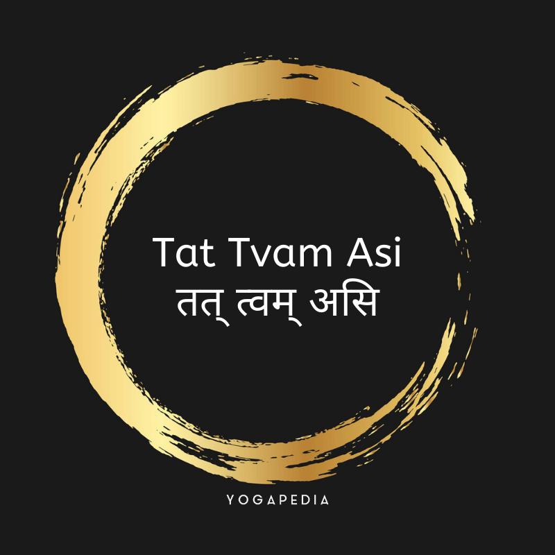 Tat Tvam Asi mantra written in english and Sanskrit inside a golden circle