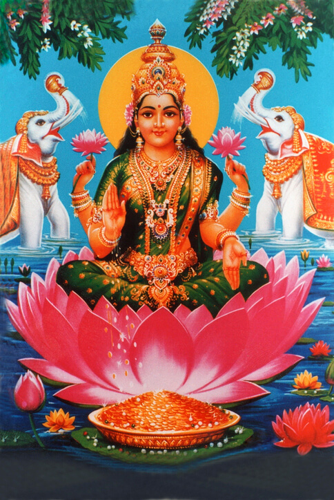 Goddess Lakshmi with lotus