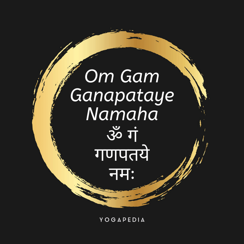 Om Gam Ganapataye Namaha mantra in English and Sanskrit printed in a gold circle