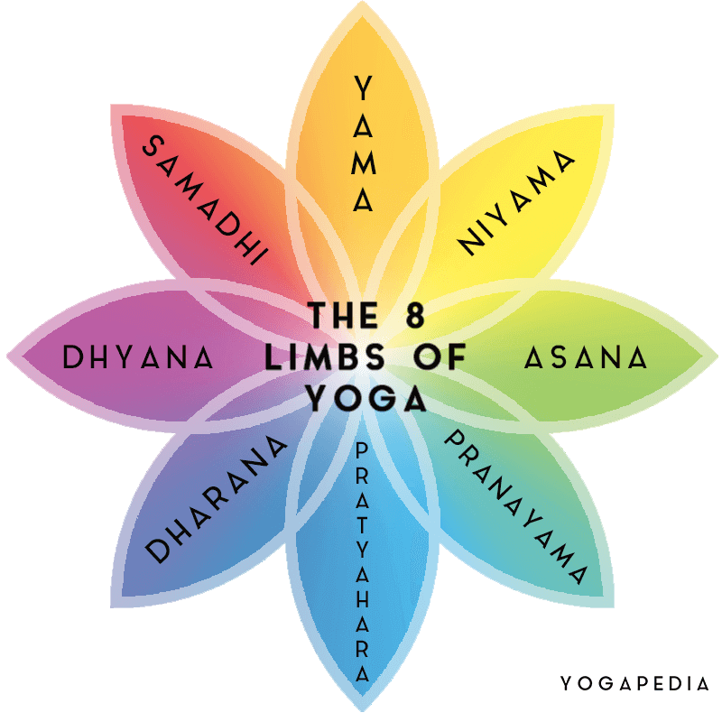 The 8 limbs of yoga yama niyama asana pranayama pratyahara dharana dhyana samadhi