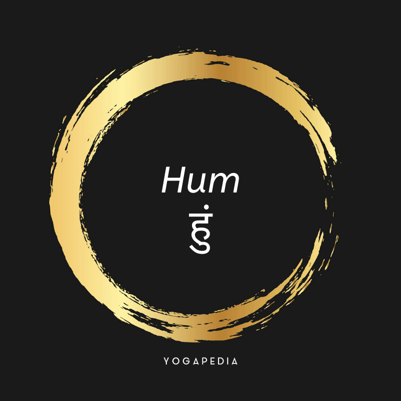 Hum mantra written in English and Sanskrit within a golden circle
