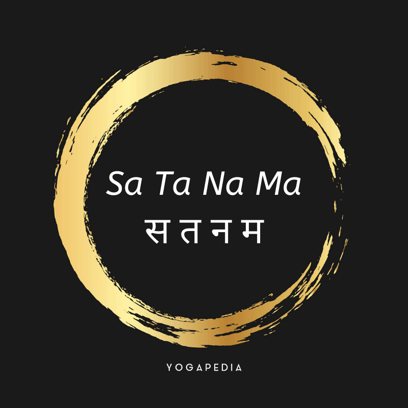 sa ta na ma mantra written in English and Sanskrit surrounded by a gold circle