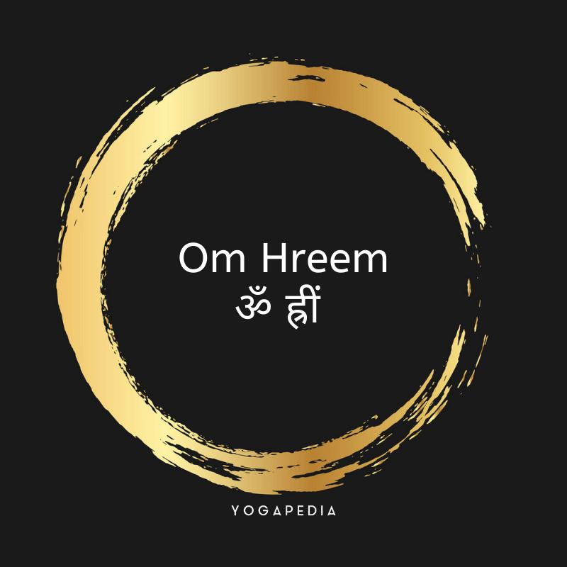 Om Hreem mantra in English and Sanskrit inside a golden circle