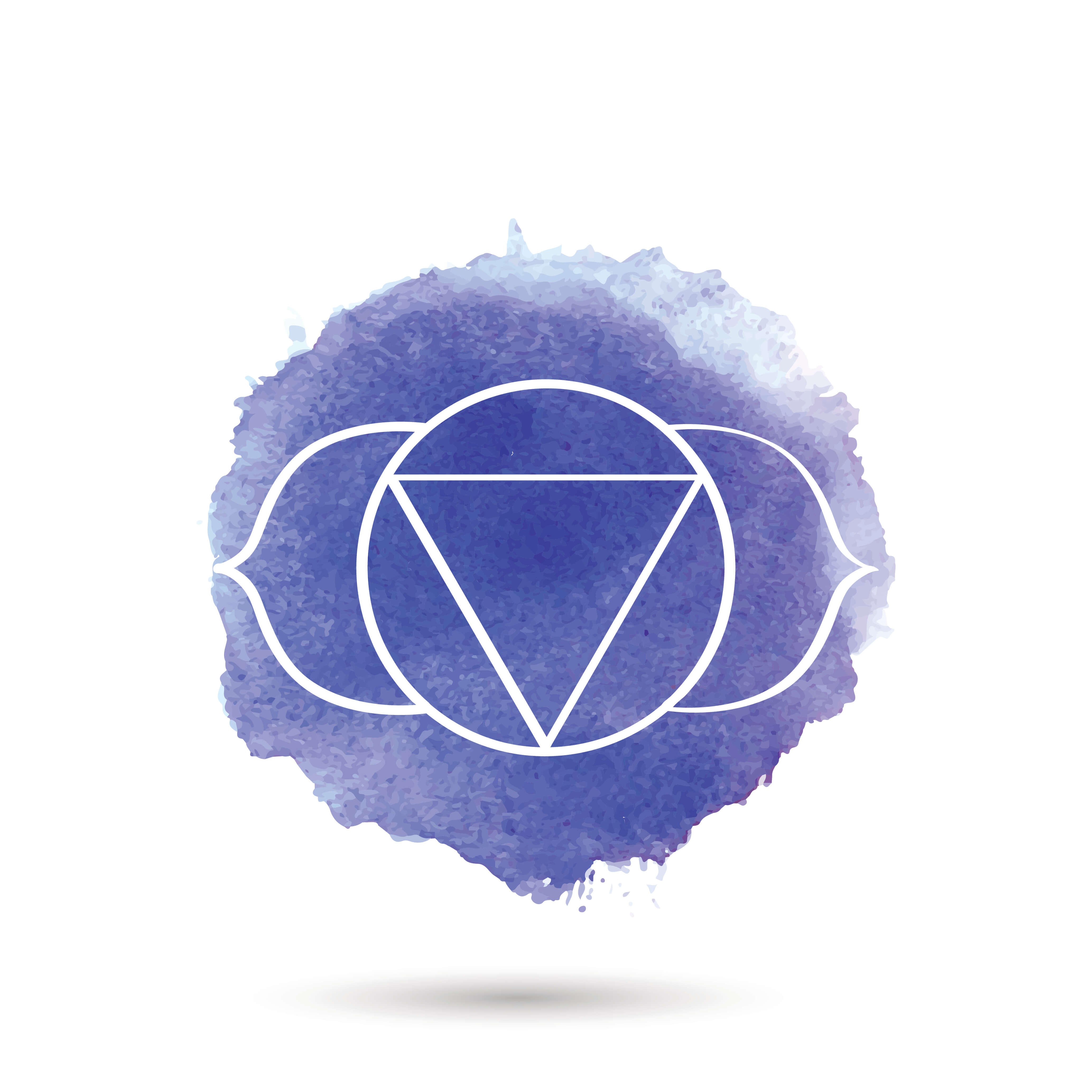 symbol for the ajna chakra in an indigo circle