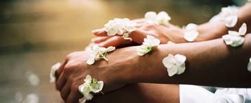 flowers on skin in meditation pose